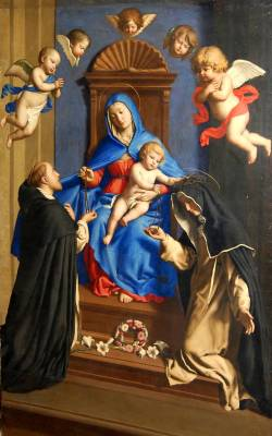 Lavinia Fontana of the Blessed Mother giving the rosary to St. Dominic